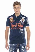 Cipo & Baxx Herren Jungen Party T-Shirt Polo Shirt CT604 kurzarm dunkelblau navy