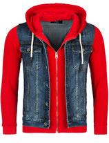 Rerock Herren Kombi-Jacke Jeansweste-Sweatjacke double-layer JK-459 dunkelblau-rot