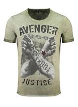 Key Largo Herren T-Shirt rundhals Vintage LIBERATE round kurzarm MT00331 dunkelgrau grün mil. green
