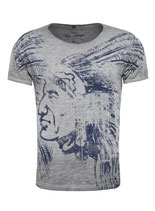 Key Largo Herren T-Shirt rundhals Vintage NATIVE round kurzarm MT00212 silver grau