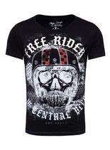 Key Largo Herren T-Shirt rundhals Vintage MOUSTACHE Rider round kurzarm MT00206 schwarz