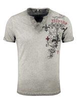 Key Largo Herren T-Shirt rundhals Vintage KNIGHT kurzarm MT00287 mil. Style silver grau