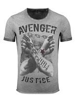 Key Largo Herren T-Shirt rundhals Vintage LIBERATE round kurzarm MT00331 dunkelgrau  anthra