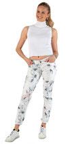 M.O.D Miracle of Denim Damen Jeans Hose Women RACHEL Regular Fit white Flower