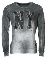 Key Largo Pullover Sweatshirt Longsleeve Herren Shirt Langarm Vintage N.Y. New York MSW00025 mil. green