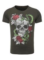 Key Largo Herren T-Shirt rundhals Vintage Skull SNAKE kurzarm MT00158 olive