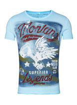 Key Largo Herren T-Shirt rundhals Vintage MONTANA round kurzarm MT00183 hellblau blue