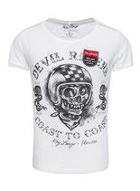Key Largo Herren T-Shirt rundhals Vintage PLAYER Rider round kurzarm MT00186 weiß offwhite