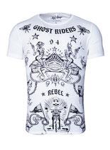 Key Largo Herren T-Shirt rundhals Vintage GHOST round kurzarm MT00191 weiß