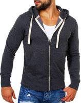 Young & Rich  Sweatjacke Sweatshirt Pullover Weste Jacke mit Kapuze 903 dunkelgrau anthrazit