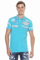 Cipo & Baxx Herren Jungen Party T-Shirt Polo Shirt CT603 kurzarm türkis