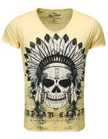 Key Largo Herren T-Shirt V-Neck Vintage INDIAN kurzarm MT00102 honey yellow gelb