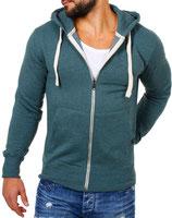 Young & Rich  Sweatjacke Sweatshirt Pullover Weste Jacke mit Kapuze 903 grün
