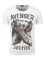 Key Largo Herren T-Shirt rundhals Vintage LIBERATE round kurzarm MT00331 dunkelgrau weiß