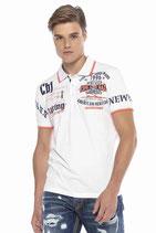 Cipo & Baxx Herren Jungen Party T-Shirt Polo Shirt CT603 kurzarm weiß