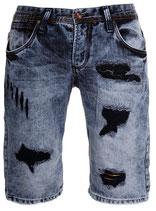 Rerock Jeans-Shorts Bermuda Capri vintage destroyed used 1184 blau-grau