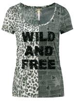 Key Largo Damen T-Shirt FREE round rundhals kurzarm Animal-Motiv WT00146 khaki