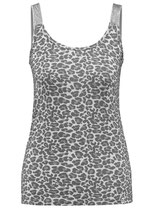 Key Largo Damen T-Shirt Mädchen Frauen Sexy Top KITTY round rundhals Animal-Motiv WT00174 grau silver