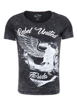 Key Largo Herren T-Shirt rundhals Vintage REBELS UNITED round kurzarm MT00207 schwarz