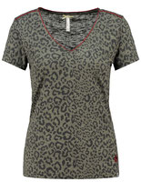 Key Largo Damen T-Shirt TRUE V-Neck kurzarm Animal-Motiv WT00116 grün khaki