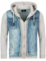 Rerock Herren Kombi-Jacke Jeansweste-Sweatjacke double-layer JK-459 hellblau-grau