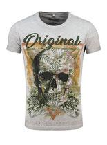 Key Largo Herren T-Shirt rundhals Vintage TRIANGLE round skull Totenkopf kurzarm MT00187 grau silver