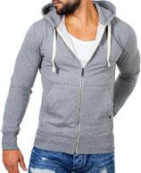 Young & Rich  Sweatjacke Sweatshirt Pullover Weste Jacke mit Kapuze 903 grau