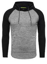 Key Largo Herren Pullover Longsleeve Sweatshirt Hoodie mit Kapuze BERT MSW00090 schwarz-grau