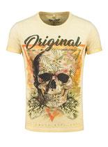 Key Largo Herren T-Shirt rundhals Vintage TRIANGLE round skull Totenkopf kurzarm MT00187 gelb