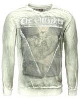 Key Largo Herren Pullover T-Shirt Longsleeve OUTSIDERS MSW00027 Vintage mil. green