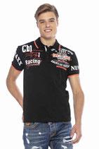 Cipo & Baxx Herren Jungen Party T-Shirt Polo Shirt CT603 kurzarm schwarz