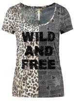 Key Largo Damen T-Shirt FREE round rundhals kurzarm Animal-Motiv WT00146 schwarz