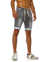 Sublevel Herren Jeans-Shorts Vintage Sweat-shorts Caprijeans destroyed Bermuda grau