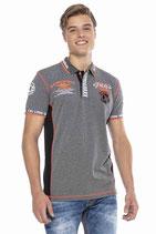 Cipo & Baxx Herren Jungen Party T-Shirt Polo Shirt CT605 kurzarm grau anthrazit