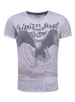 Key Largo Herren T-Shirt rundhals Vintage FEARLESS round kurzarm MT00215 silver grau