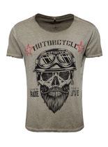 Key Largo Herren T-Shirt rundhals Vintage BEARDED BIKER round kurzarm MT00203 mil.green