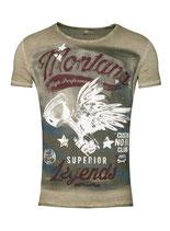 Key Largo Herren T-Shirt rundhals Vintage MONTANA round kurzarm MT00183 grün mil.green