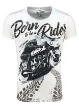 Key Largo Herren T-Shirt rundhals Vintage BORN Rider round kurzarm MT00190 weiß offwhite