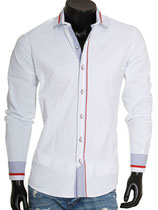 Carisma Hemd 8046 weiß mit kontrast langarm