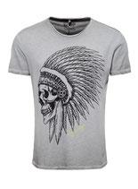 Key Largo Herren T-Shirt rundhals Vintage CHIEF round kurzarm MT00208 grau silver