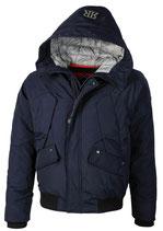 Rego & Regino Winter Jacke Mantel Kurzmantel mit Kapuze Trenchcoat Parka DUNCAN dunkelblau