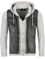 Rerock Herren Kombi-Jacke Jeansweste-Sweatjacke double-layer JK-459 anthra-grau