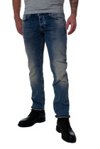 M.O.D Miracle of Denim Herren Jeans Hose THOMAS Comfort alava blue blau verwaschen mit Knopfleiste