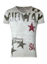 Key Largo Herren T-Shirt  Vintage MIDWAY V-Neck kurzarm MT00188 silver grau