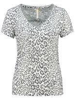 Key Largo Damen T-Shirt TRUE V-Neck kurzarm Animal-Motiv WT00116 weiß offwhite