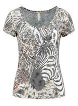 Key Largo Damen T-Shirt ZOO round rundhals kurzarm zebra WT00145 sand beige-grau
