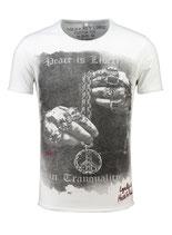 Key Largo Herren T-Shirt rundhals Vintage AWAKE round kurzarm MT00290 weiß
