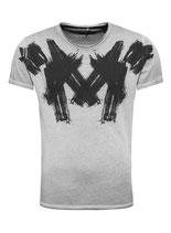 Key Largo Herren T-Shirt rundhals Vintage PAINT round kurzarm MT00213 silver grau
