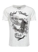 Key Largo Herren T-Shirt rundhals Vintage REBELS UNITED round kurzarm MT00207 weiß offwhite