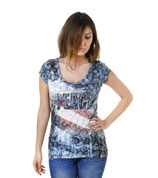 Key Largo Damen Party T-Shirt Top MIAMI jeans blue WT00008
